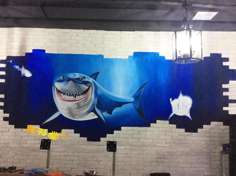 衡阳网咖手绘墙3d画墙绘涂鸦精