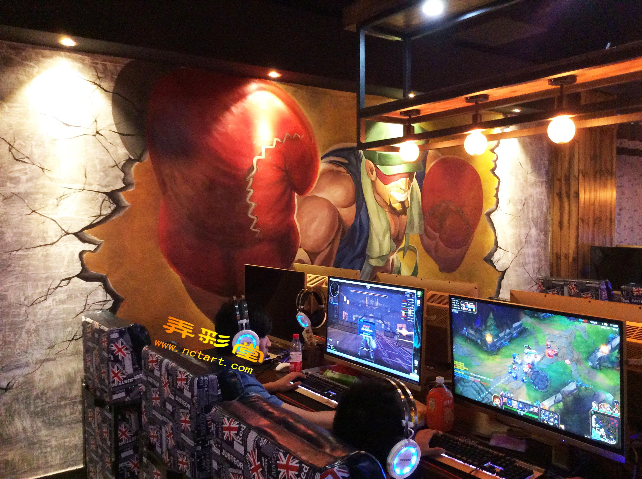 衡阳网咖手绘墙涂鸦3d立体画---天空之城网络会所
