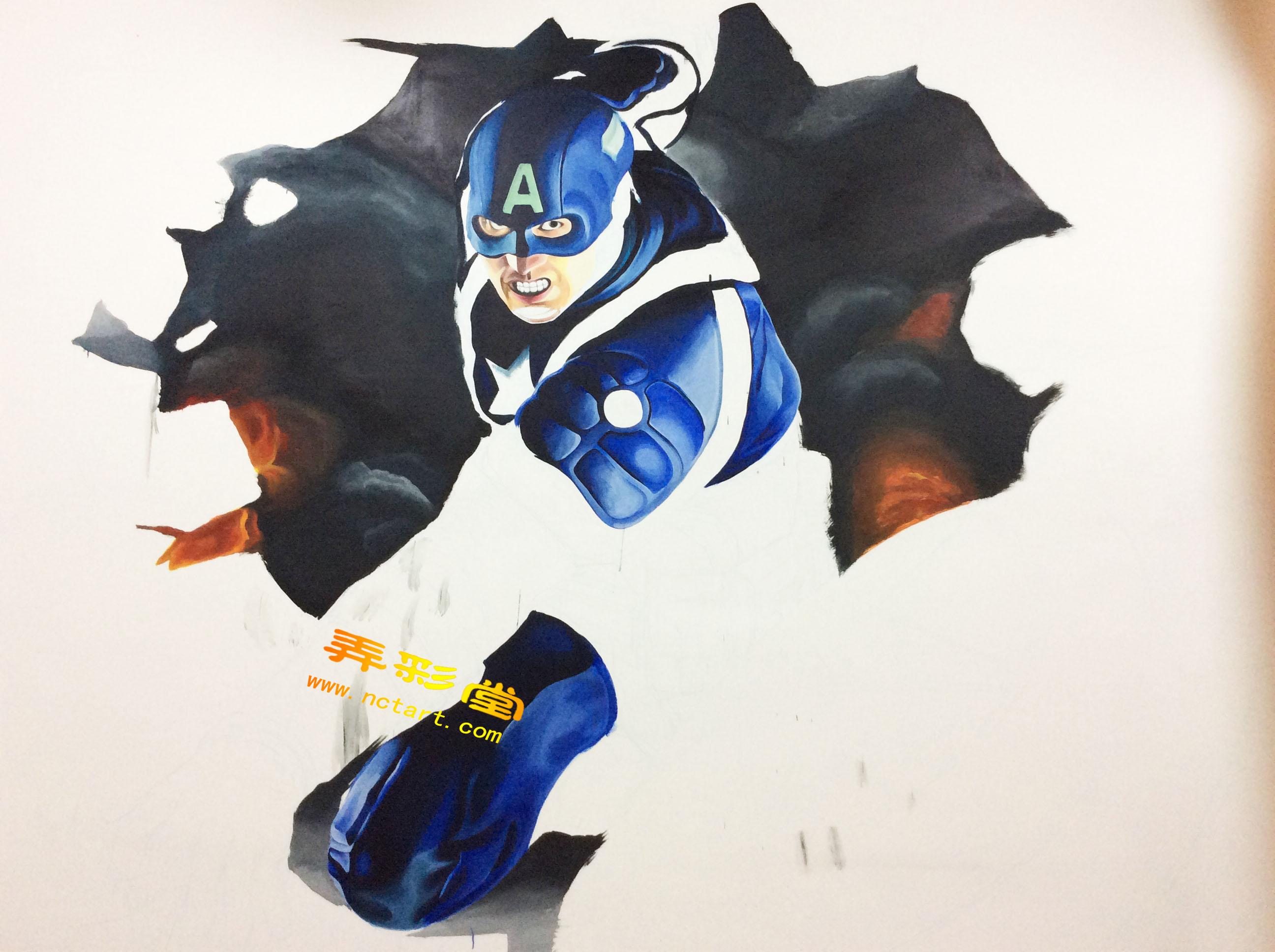 看衡阳网咖超级英雄美国队长墙绘3d立体画是怎么诞生的