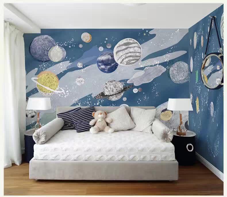 儿童房手绘卧室背景墙主题壁画