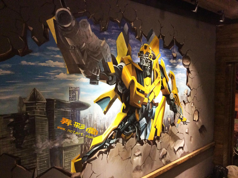 衡阳网咖3d立体画墙绘壁画涂鸦--鑫源网咖手绘墙画欣赏