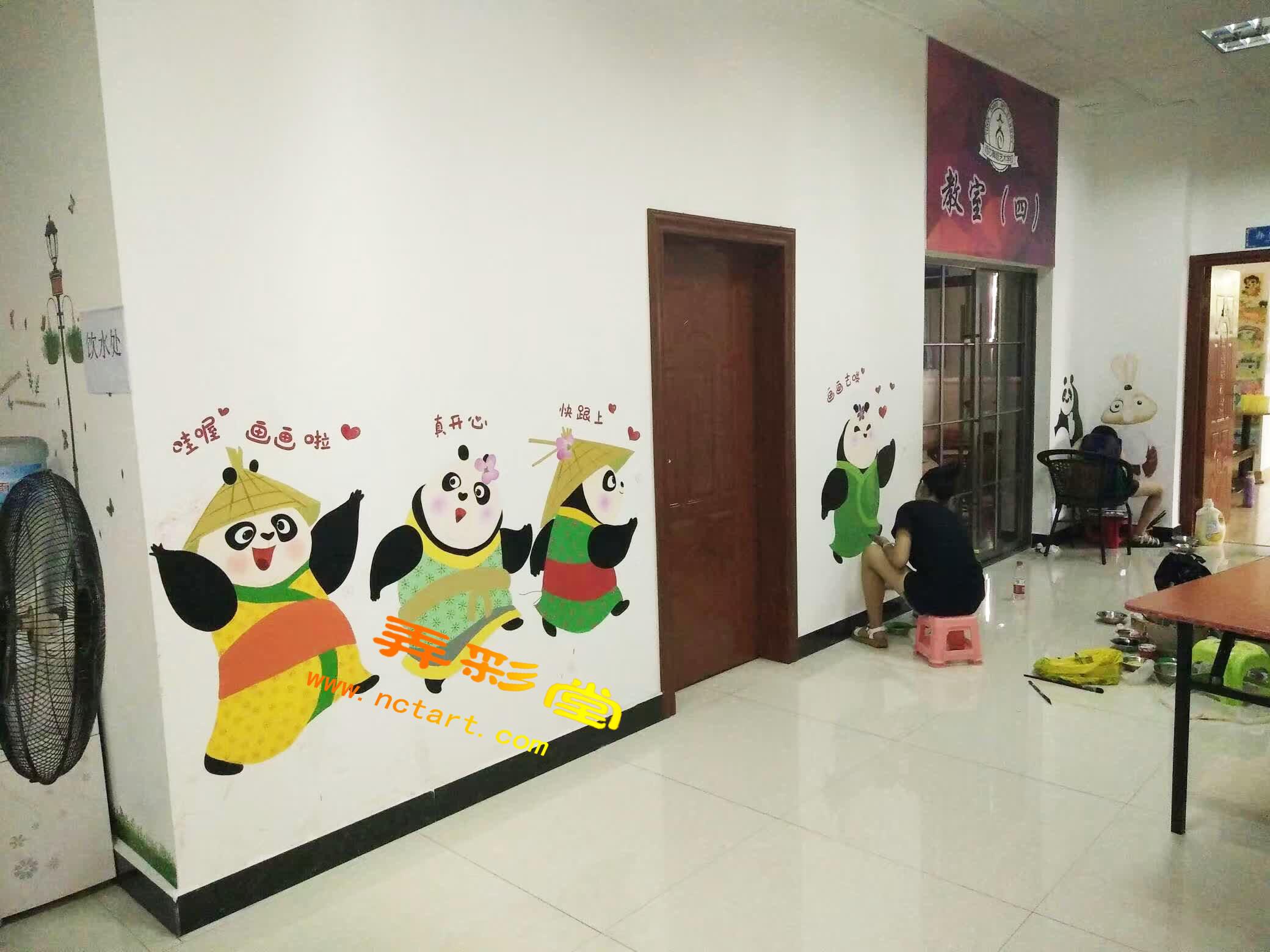 衡阳儿童美术画室幼儿园墙体彩绘--雨芯舞蹈学院儿童